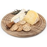 Rustic Farmhouse Rounded Acacia Wood Cheese Board & Knife Set by Twine
