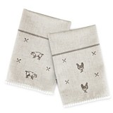 Rustic Farmhouse™ Linen Napkin Set with Pig & Poultry Designs by Twine