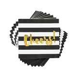 "Black Stripe Gold-Foiled ""Cheers!"" Napkins by Cakewalk"