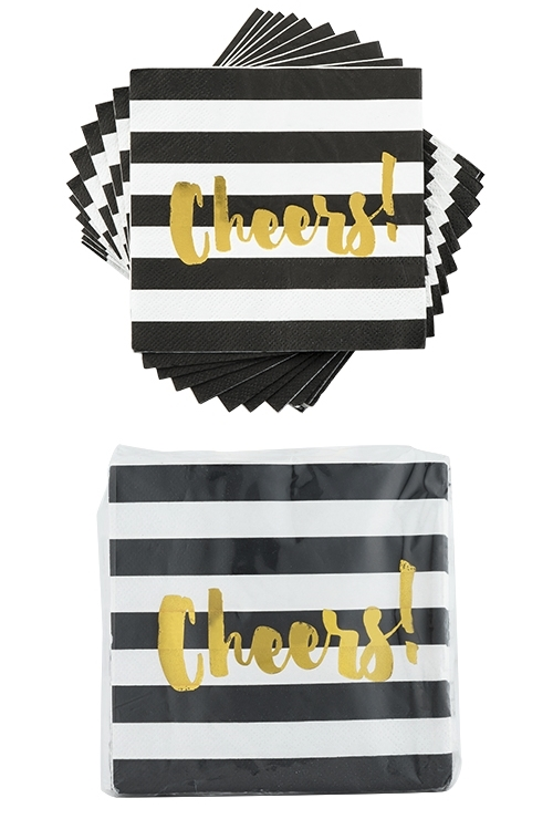 """Black Stripe Gold-Foiled """"Cheers!"""" Napkins by Cakewalk"""