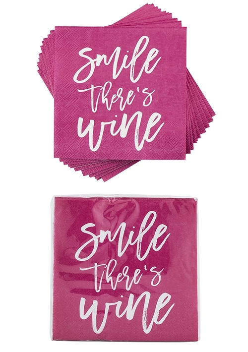 """Smile There's Wine"" Napkins by Cakewalk (Package of 20)"
