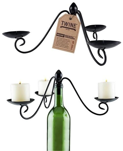 Boulevard: 3-Votive Black-Metal Wine Bottle Candelabra by Twine