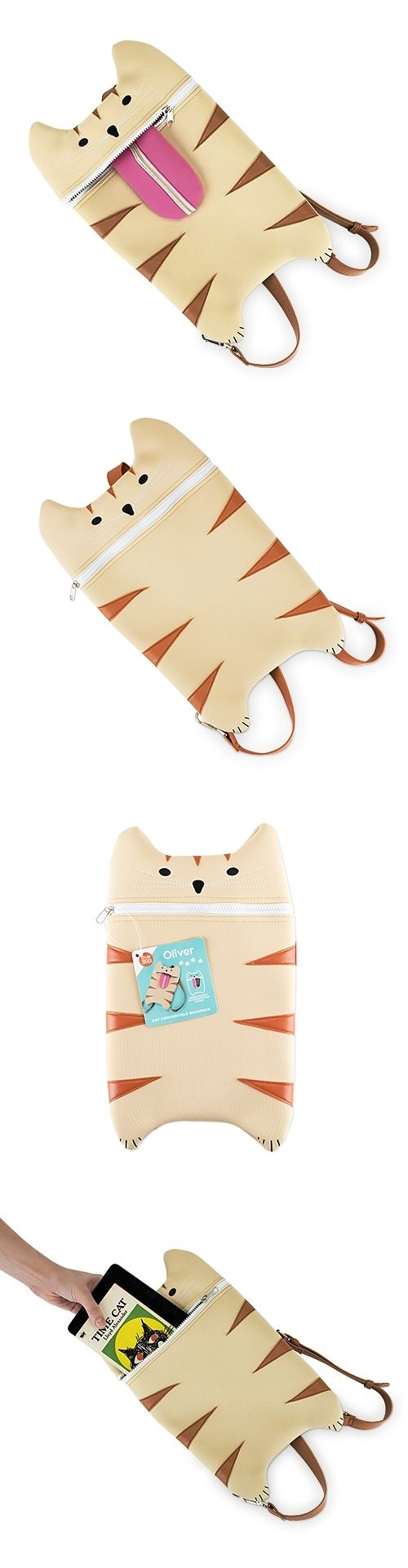 Oliver: Faux-Leather Tabby Cat Bottle Bag Backpack by TrueZOO