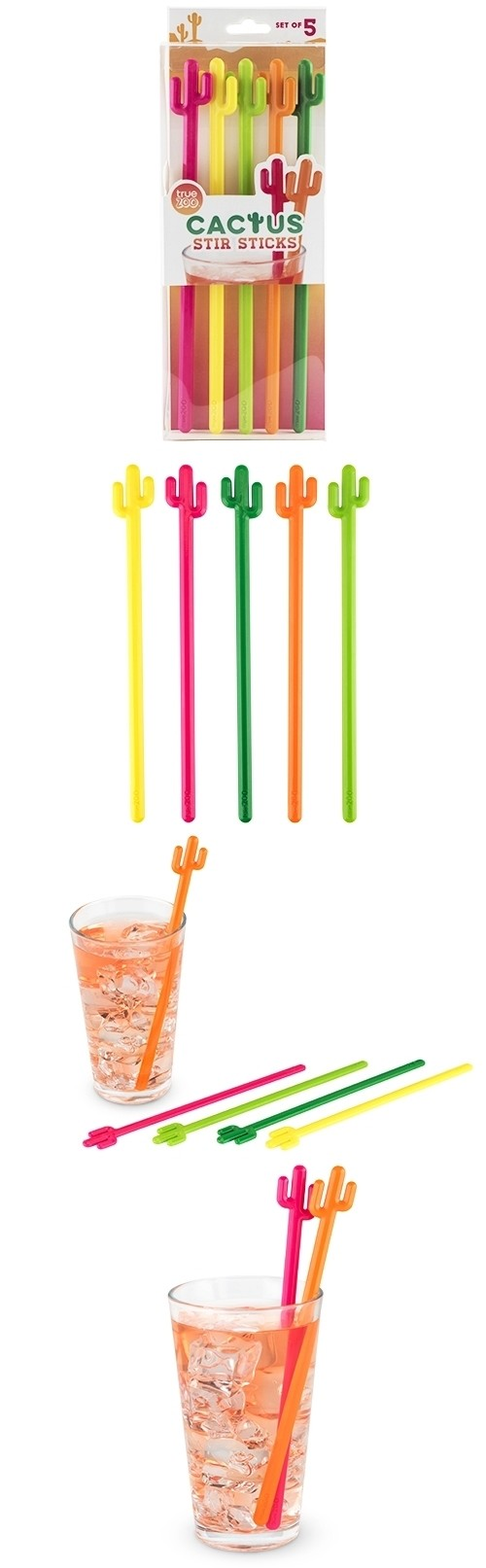 Colorful Cactus Stir Sticks by TrueZOO (Set of 5)