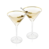 Belmont: Gold-Rimmed Crystal Martini Glasses by Viski (Set of 2)