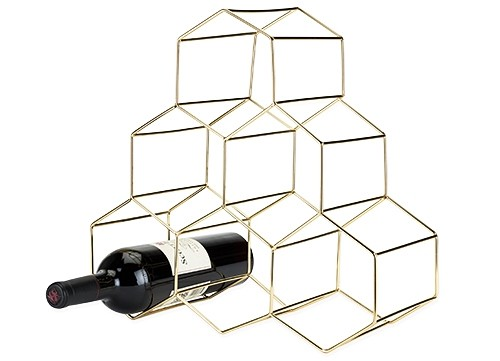 Belmont: Gold-Plated Stainless-Steel Geo Wine Rack by VISKI