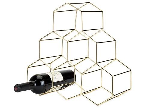 Belmont: Gold-Plated Stainless-Steel Geo Wine Rack by VISKI