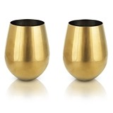 Belmont Collection Gold-Plated Stemless Wine Glasses by VISKI