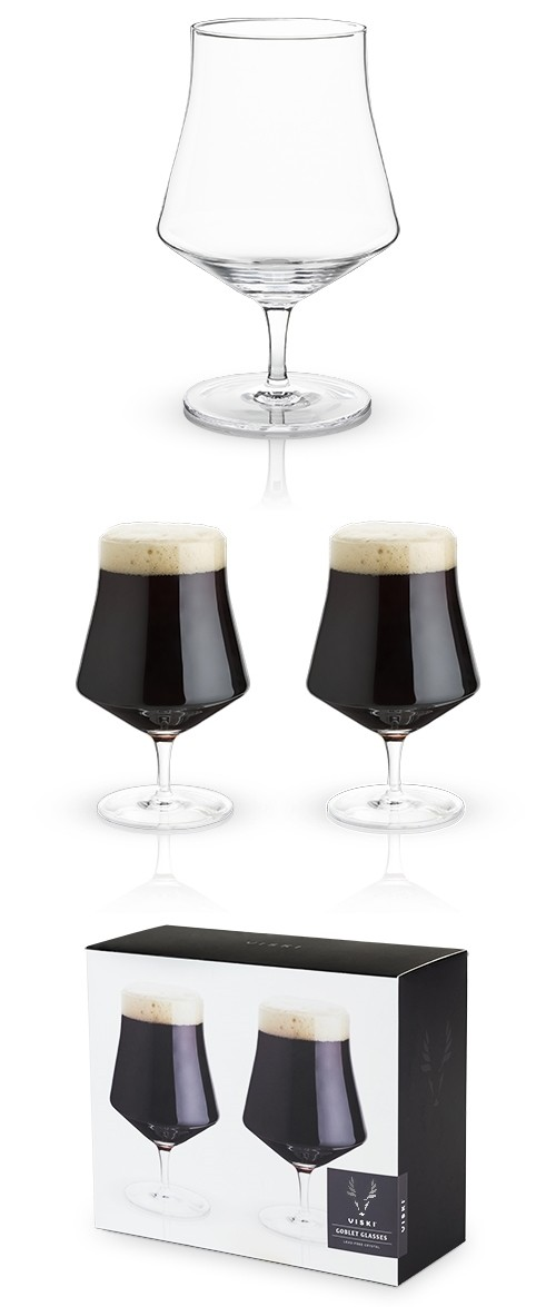 Raye: Crystal Beer Goblet Glasses by VISKI (Set of 2)
