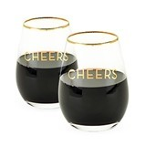 Rustic Farmhouse Cheers Stemless Wine Glasses by Twine (Set of 2)