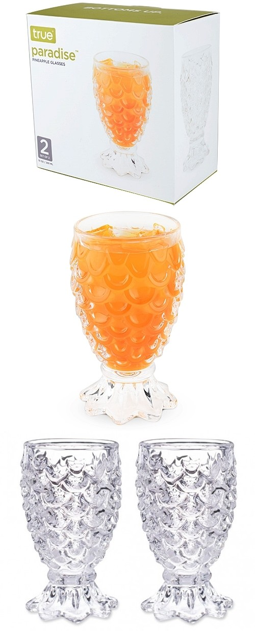 Paradise™ Set of 2 Pineapple Glasses by True