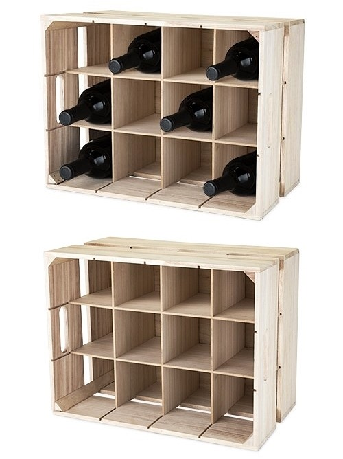 Wooden Crate 12 Bottle Wine Rack By True Personalized Gifts And