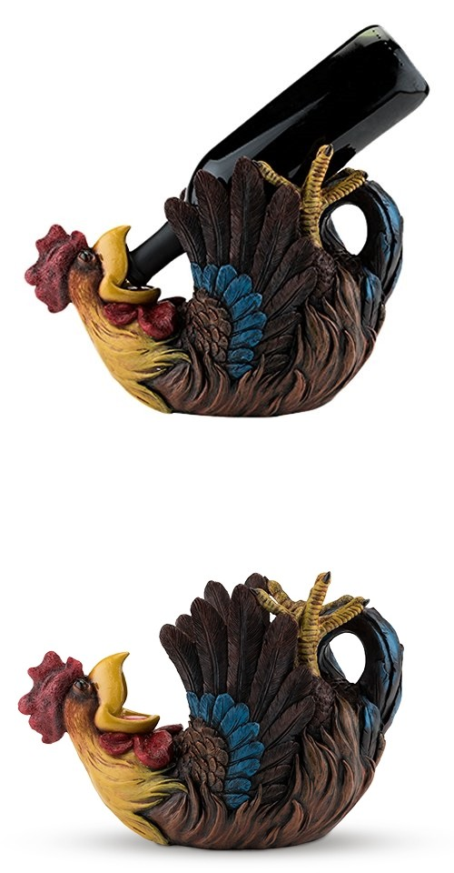 Colorful Polyresin Rowdy Rooster Bottle Holder by True