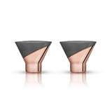 Raye: Polished-Copper-Dipped Crystal Martini Glasses by VISKI (2 ct)