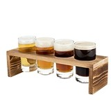 """Ardor"" Wooden Beer Flight Board & 4 Tasting Glasses by True"