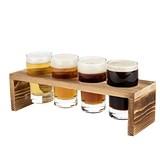 """""""Ardor"""" Wooden Beer Flight Board & 4 Tasting Glasses by True"""