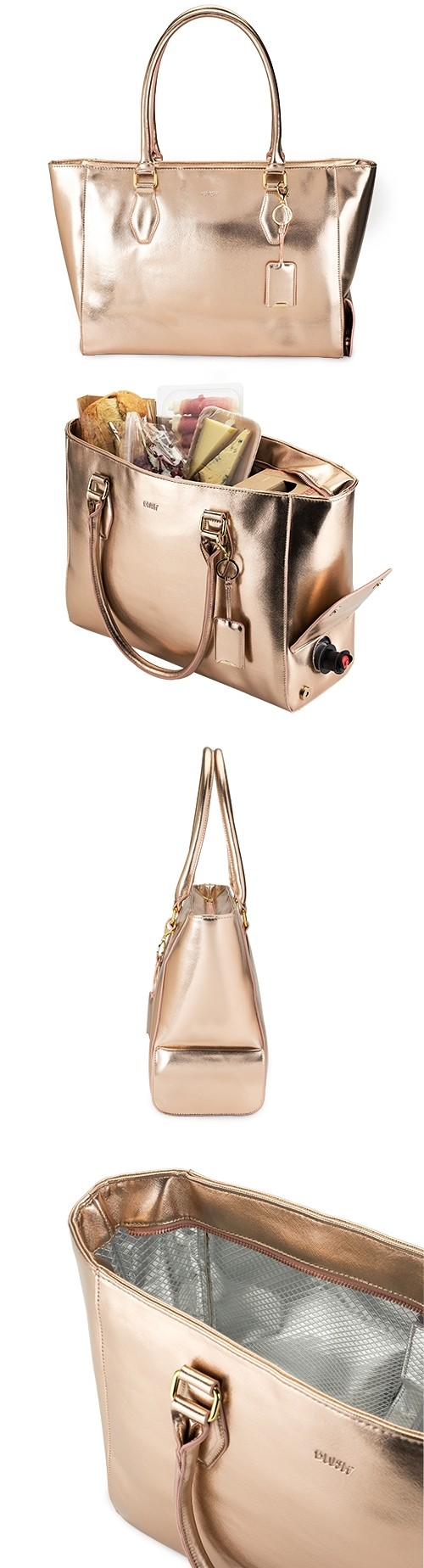 Insulated Metallic Rose Gold Wine Purse Tote by Blush
