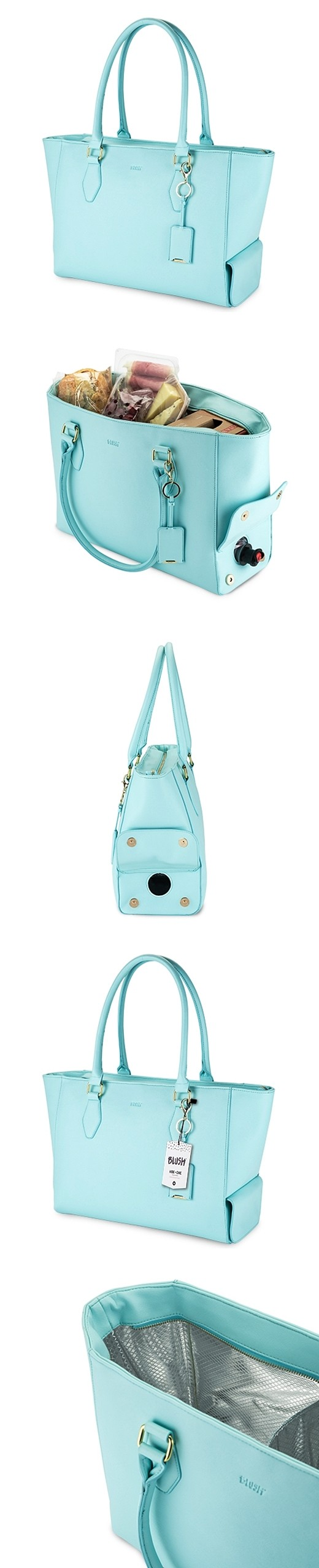 Aqua Insulated Wine Purse Tote with Bottle Opener Keychain by Blush