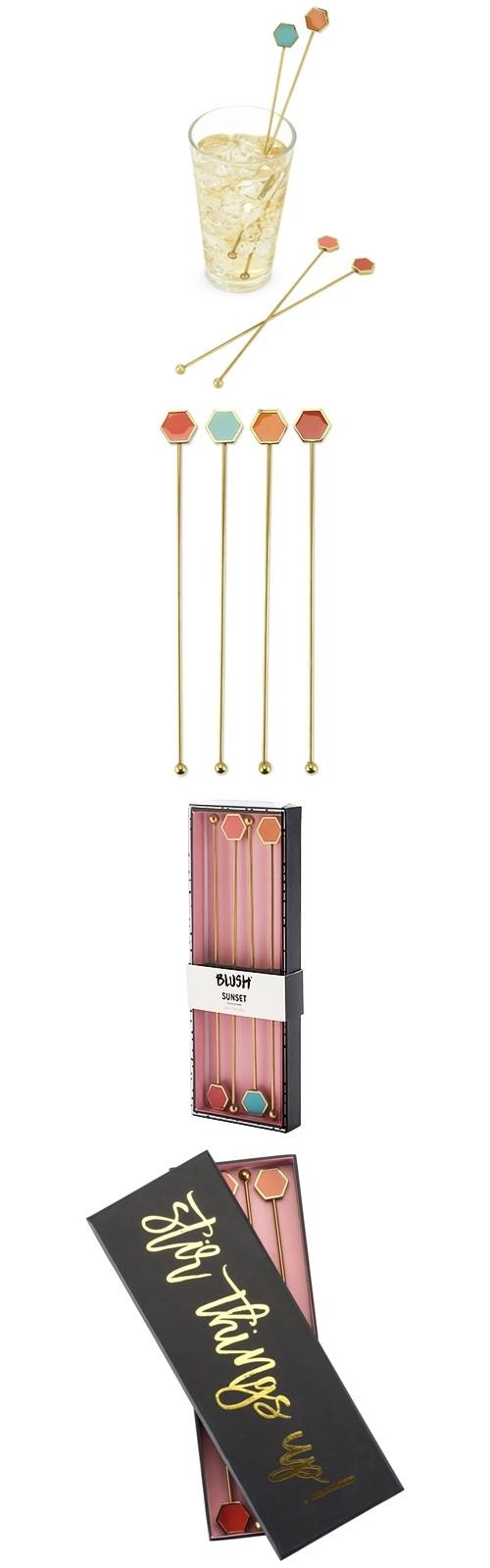 """Sunset"" Geo Enamel Inlay Stir Sticks by Blush (Set of 4)"