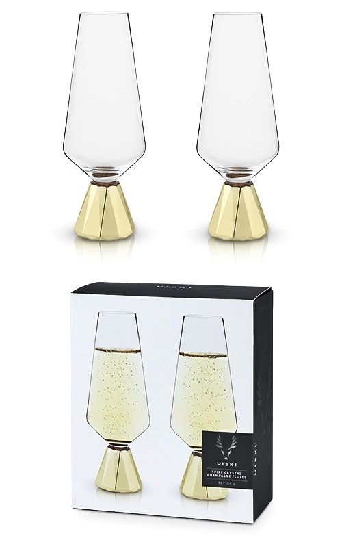 Raye Spire Crystal Champagne Flutes By Viski Set Of 2 Personalized Gifts And Party Favors