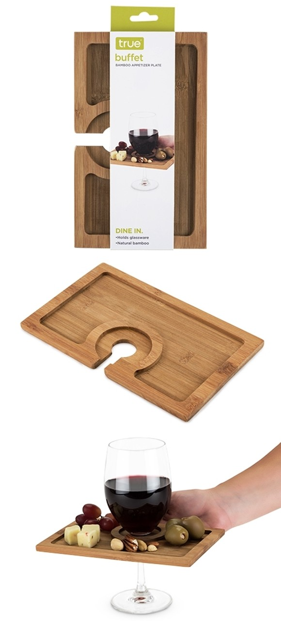 Buffet Bamboo-Wood Wine Glass-Holding Appetizer Plate by True