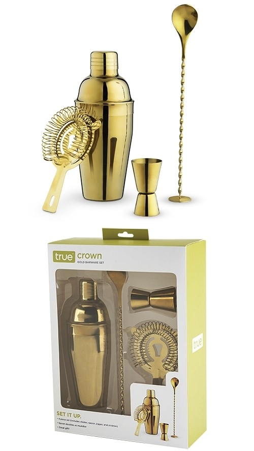 Crown: Gold-Plated Barware Set by True