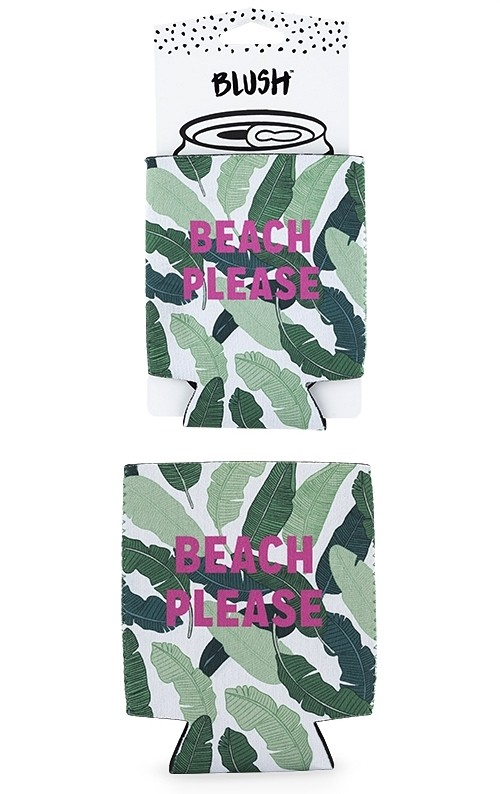 """""""Beach Please"""" Palm Leaves Motif Can Sleeve by Blush"""