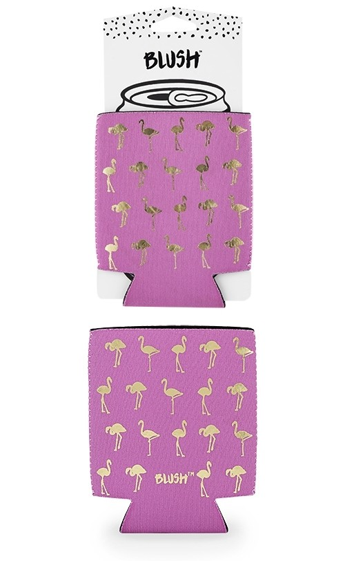Golden Flamingo Pattern Hot Pink Can Sleeve by Blush