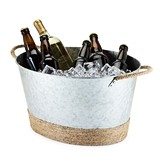 Seaside Collection Jute Rope Wrapped Galvanized Tub by Twine