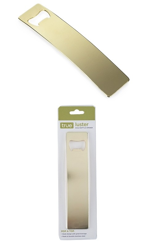"""Luster"" Electroplated-Gold Bottle Opener by True"