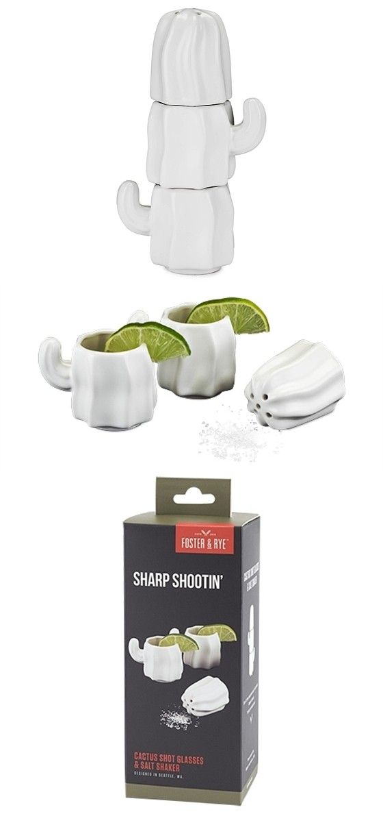 Ceramic Stacking Cactus Shot Glasses with Salt Shaker by Foster & Rye