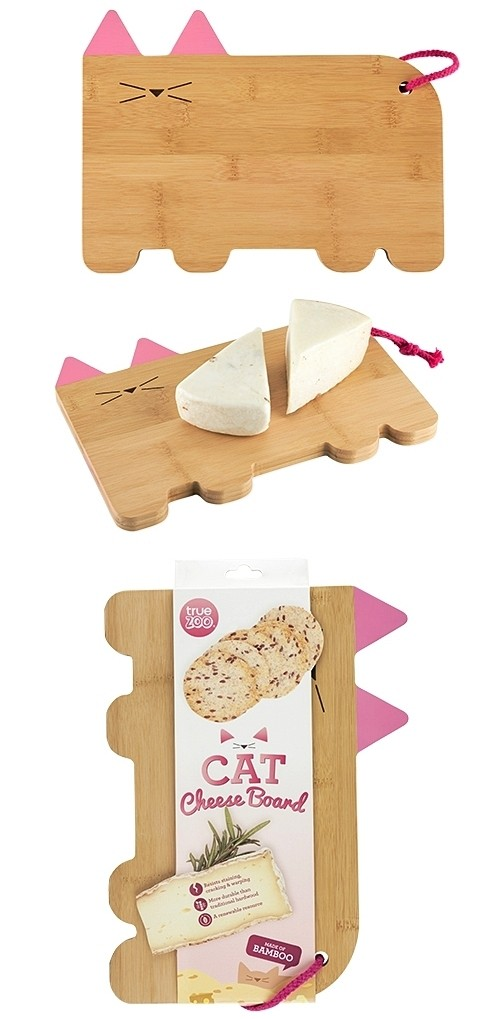 Cat-Shaped Bamboo-Wood Cheeseboard by TrueZOO