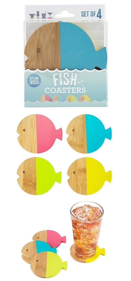 Color-Dipped Bamboo-Wood Fish Coasters by TrueZOO (Set of 4)