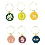 Lucky Symbol Enamel Wine Charms by Blush (Set of 6)
