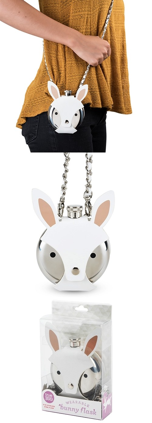 Wearable Bunny Flask with Removable Faux-Leather Sleeve by TrueZOO