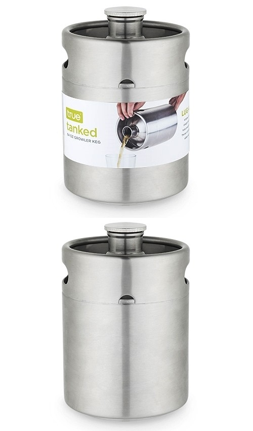 Tanked: 64 oz Stainless-Steel Growler Keg with Handles by True