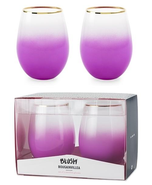 Bougainvillea Opaque Purple Gradient Stemless Wine Glasses (Set of 2)