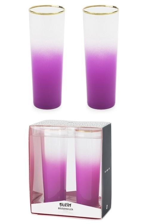 Bougainvillea Opaque Purple Gradient Spritzer Glasses (Set of 2)