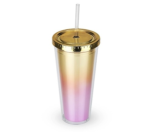 """Bougainvillea"" Metallic Ombre Tumbler w/ Gold Lid by Blush"