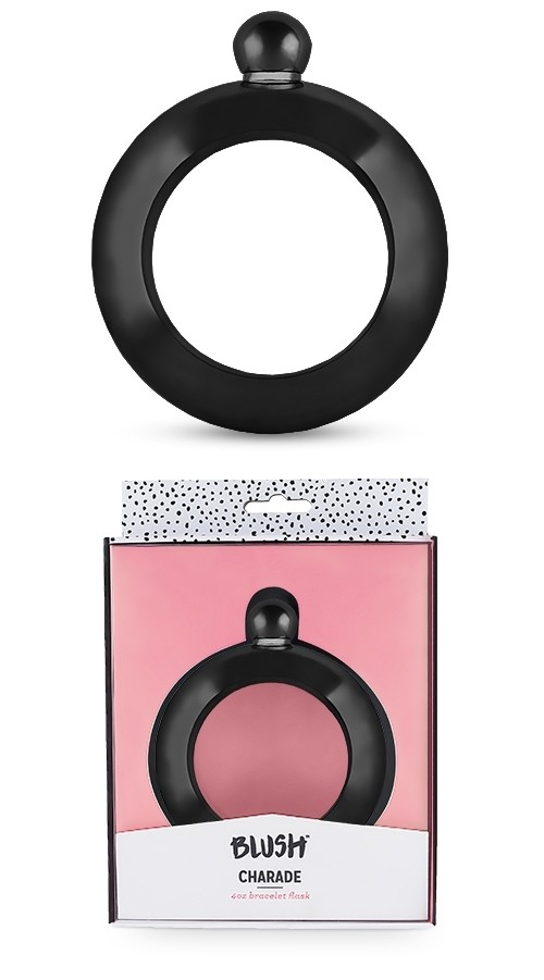 Charade Collection Black-Colored-Metal Bracelet Flask by Blush