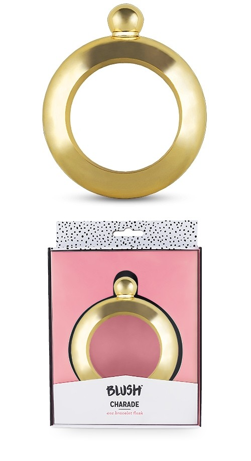 Charade Collection Gold-Colored-Metal Bracelet Flask by Blush
