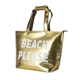 "Sassy ""Beach Please"" Metallic Gold Insulated Tote by Blush"