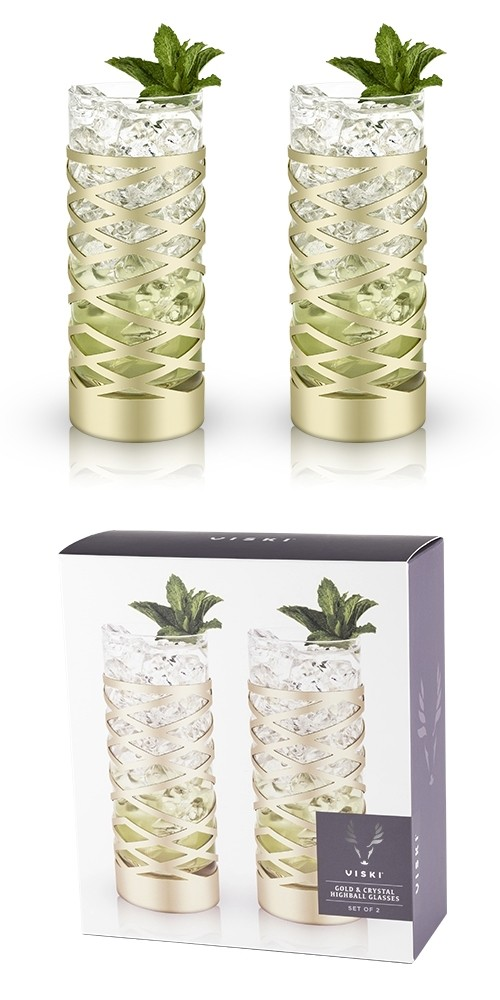Belmont Collection Gold & Crystal Patterned Highball Glasses by VISKI