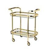 Belmont Collection Gold-Plated Dual-Handled Bar Cart by VISKI