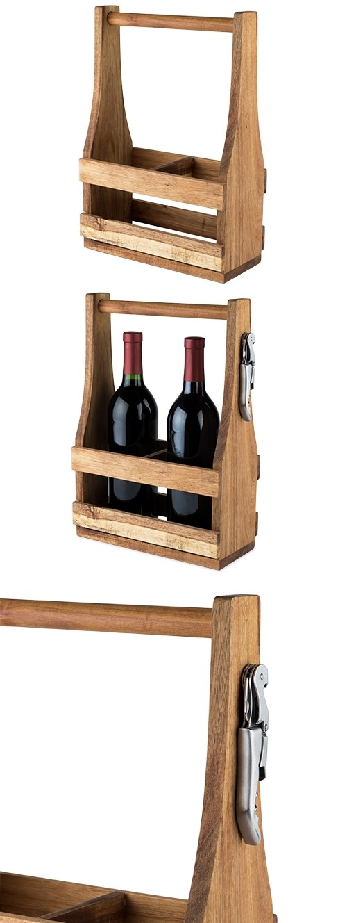 Country Home: Acacia Wood Wine Caddy with Waiter's Corkscrew by Twine