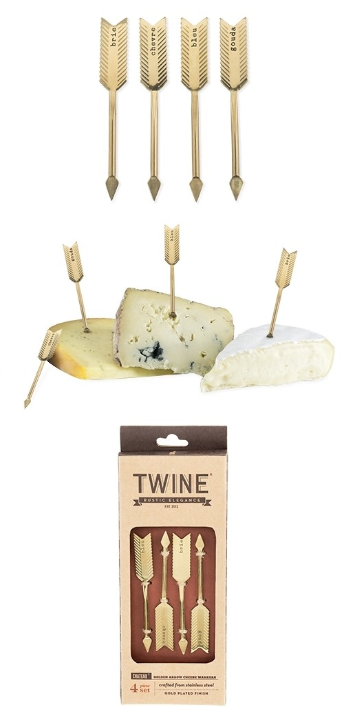 Chateau: Golden Arrow Stainless Steel Set of 4 Cheese Markers by Twine