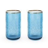 Seaside: Deep Blue Bubble Glass Tumbler Set by Twine