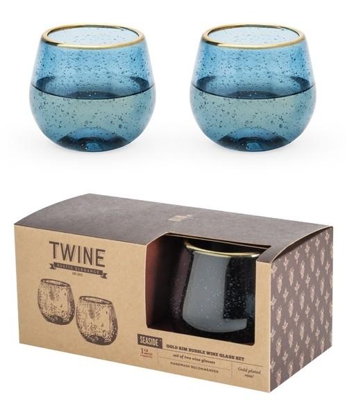 Seaside: Deep Blue Bubble Stemless Wine Glass Set by Twine