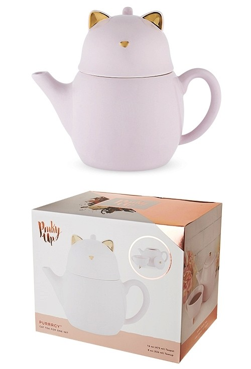 Purrrcy™ Ceramic Cat Tea for One Set by Pinky Up®