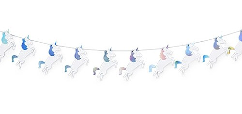 Unicorn-Themed Iridescent Paper Garland by Cakewalk